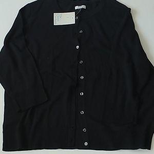Classic Black Cardigan Button Front  XXL